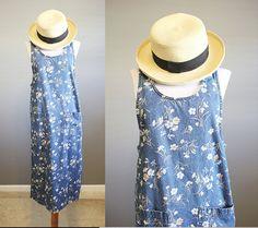 Floral Denim Dress Vintage Jumper Blue Jean by InTheHammockVintage
