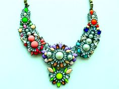Colorful Floral Statement Necklace