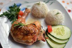 Z mojej kuchyne i fotoaparátu ...: Kráľovské kura  so schwarzwaldskou šunkou a cesnak...