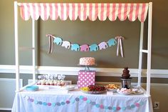 Baby Elephant Baby Shower : Dessert Table