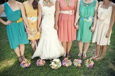 whimsical pastel DIY wedding | mismatched pastel bridesmaids | jennie andrews photography