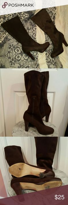 "Nine West Brown Suede Boots Super comfortable Nine West brown suede boots with half side zipper. 4"" heel with 1/2"" platform. Material stretches, so fits all calf sizes including wide calf. Wear on bottom of shoes, in great condition otherwise. Nine West Shoes Heeled Boots"