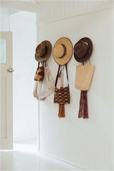 all hung up. Bag Rack, Hanging Hats, Boho Chic, Hat Storage, Words On Canvas, Hat Hooks, Hung Up, Macrame Patterns, Nordic Design