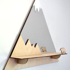 Grizzly Bear Mountain Peak Decorative Mirror And Shelf - home decorating