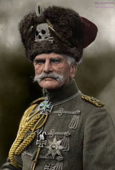 Quite possibly the greatest hat worn during the Great War .Generalfeldmarschall August von Mackensen, officer in the German Army. Wearing the Totenkopf (skull and cross bones) which was part of German military gear since the century. Military Gear, Military History, Military Uniforms, Military Style, World War One, First World, Field Marshal, German Army, World History