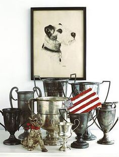 Welcome to the beautiful world of Aimee Herring photography. Vintage trophies and terrier picture. Vintage Love, Vintage Silver, Antique Silver, Vintage Stuff, Vintage Sport, Tarnished Silver, Old Trophies, Displaying Collections, Or Antique
