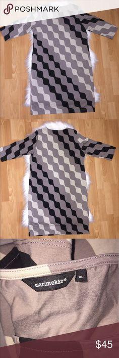 "Marimekko black gray print sheath dress Size XL. Bust 42"", Waist 41"", hips 43"". Sleeve length 18"". Total dress length 40.5"".  92% cotton, 8% elastane. Marimekko Dresses Midi"