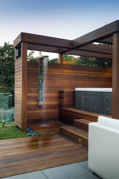 toronto outdoor shower fixtures with contemporary rain panels patio and deck rai., Home Accessories, toronto outdoor shower fixtures with contemporary rain panels patio and deck raised hot tub. Hot Tub Gazebo, Hot Tub Backyard, Hot Tub Garden, Backyard Kitchen, Outdoor Baths, Outdoor Bathrooms, Outdoor Spa, Outdoor Showers, Hot Tub Privacy