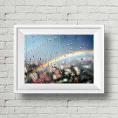"""Rainbow and Rain Drops in Window 