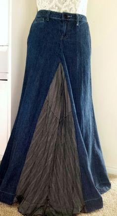 women's long denim skirt with pleat insert