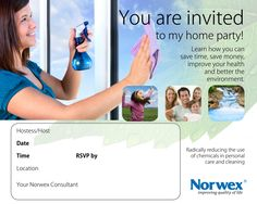 Invitations for learning more about Norwex, Norwex microfiber and Personal Care Products