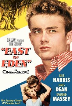 -East of Eden based on the novel by John Steinbeck, starring James Dean and Julie Harris, directed by Elia Kazan. Old Movie Posters, Classic Movie Posters, Cinema Posters, Classic Movies, Film Poster, Vintage Posters, Eden Movie, I Movie, Old Movies