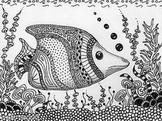 Zentangled Fish - Just Cruisin. by Sherry Goeben - zentangle - Animalplanet Dibujos Zentangle Art, Zentangle Drawings, Doodles Zentangles, Zentangle Patterns, Zentangle Animal, Fish Zentangle, Zantangle Art, Zen Art, Ocean Coloring Pages