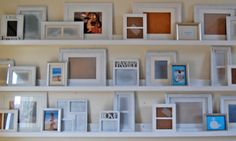 Build your own 'gallery ledges' for only $10 per 8foot ledge. I want to make shorter ledges for book display shelves in M's room...