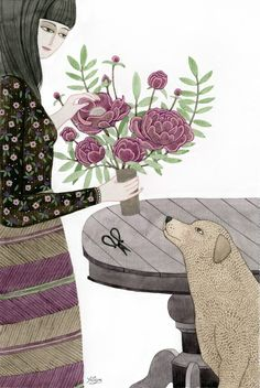 Girl, her Dog and bouquet of Flowers Art Print