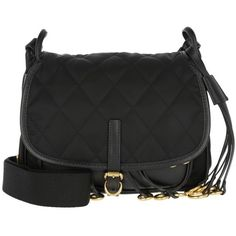 Prada Shoulder Bag - Corsaire Crossbody Bag Calfskin/Nylon Nero - in... (17.796.935 IDR) ❤ liked on Polyvore featuring bags, handbags, shoulder bags, black, nylon handbags, nylon crossbody handbags, studded crossbody purse, crossbody purse and quilted cross body purse