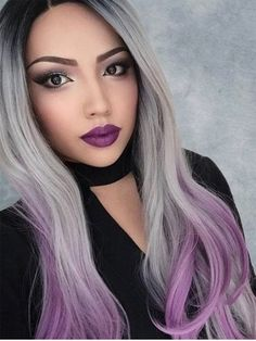 (Ad) Ombre Grey Mixed Purple Heat Safe Wig Synthetic Hair Silky Nature Wave Wigs - Wigs and Hairpieces. Hair Extensions and Wigs - Synthetic Lace Front Wigs, Synthetic Wigs, Dyed Hair Purple, Purple Ombre, Silver Ombre, Grey Ombre, Ombre Color, Blonde Ombre, Ombre Hair