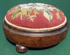 Victorian Beaded Berlin Woolwork Ladies Footstool Bun Feet Knealing Stool