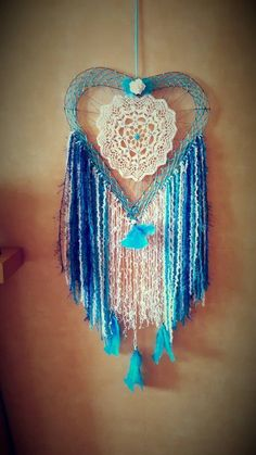 Handmade Heart Dreamcatcher shades of Blue Vintage Doily Beads and Feathers in Home, Furniture & DIY, Home Decor, Other Home Decor Retro Home Decor, Home Decor Items, Shades Of Blue, Doilies, Feathers, Dream Catcher, Retro Vintage, Beads, Handmade