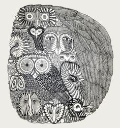 I collect clever owls zentangle inspiration.stylized owl almagamation (by audelaine)