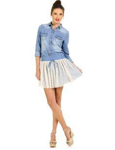 Blue/Beige Denim and Mesh Mini Skirt | $11.50 | Cheap Skirts Fashion | #moddeals #fashion #style #skirt