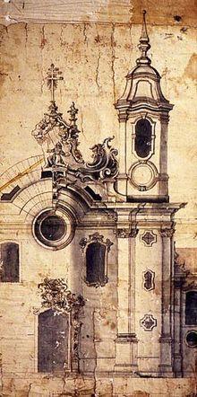 ALEIJADINHO. Projeto para a fachada da Igreja de São Francisco, em São João del-Rei, no qualAleijadinho atuou como arquiteto, bem como do projeto da fachada da igreja Nossa Senhora do Carmo, em Ouro Preto, cujos riscos foram alterados na década de 1770