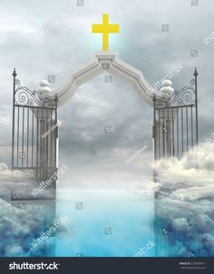opened entrance to Gods paradise in sky illustration