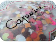 pochettes confetti pour annoncer l'arrivée de la petite Capucine