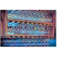 Trademark Fine Art Drinks on the House in Electric Blue Canvas Art by Lois Bryan, Size: 16 x 24, Multicolor