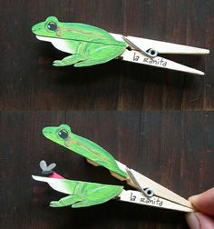Ok so I might have to make some of these, not for the kids but for me. Clever clothespin crafts - frog