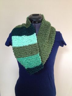 SOLD MultiColored Green Cowl Scarf by ALuckyLadybug on Etsy, $20.00