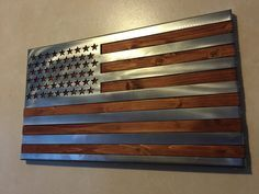 """3 dimensional, Hand oiled pine, wrapped in a folded """"Polished US Flag"""" / 2 footer / Metal Art"""