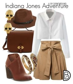 Indiana Jones by leslieakay on Polyvore featuring polyvore, fashion, style, WithChic, Alexander McQueen, Lucky Brand, Mulberry, Kasun, Sole Society, clothing, disney, disneybound, disneycharacter and DisneyBoundChallenge