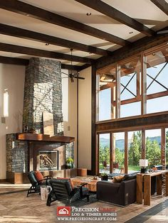 Timber Frame Great Room | Washington Timber Home | PrecisionCraft Timber Frame | Flickr - Photo Sharing!