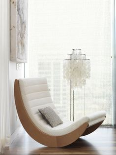 modern white rocking chair, white floor lamp, art, Chris Court Photography