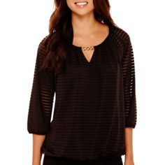 jcp | Alyx® 3/4-Sleeve Shadow Stripe Peasant Blouse