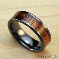 Black Ceramic Ring with Koa Wood Inlay 6mm width by HappyLaulea