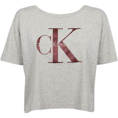 Calvin Klein Cropped T-shirt ($32) ❤ liked on Polyvore featuring tops, t-shirts, crew neck t shirt, grey t shirt, gray crop top, crop tee and calvin klein t shirt