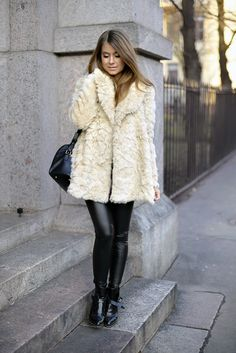 Fluffy Faux fur jacket Zara, Leather-look pants Topshop, Boots Zara, Bag Saint Laurent