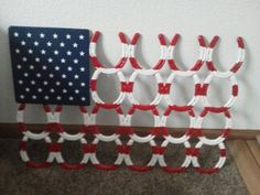 Horseshoe US Flag by HorseshoeFlagsnBeer on Etsy, $250.00. This would be cool outside on the patio