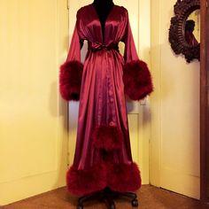 "Image of ""Rita"" Silk Charmeuse Marabou Dressing Gown Pretty Lingerie, Vintage Lingerie, Bride Lingerie, Women Lingerie, Style Année 60, Vintage Nightgown, Peignoir, Silk Charmeuse, Agent Provocateur"