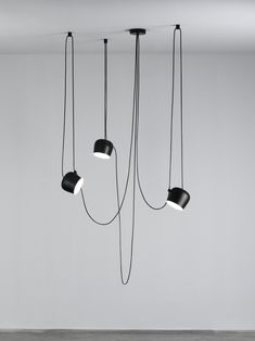 FLOS Aim Small Black Three-Lamp Light Set w/ Canopy by Ronan and Erwan Bouroullec Glass Pendant Light, Pendant Chandelier, Pendant Lighting, Loft Lampe, Bedroom Lamps, Hanging Lights, Floor Lamp, Ceiling Lights, Loft Studio
