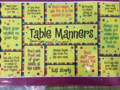 Enjoying a family meal together? Consider making laminated placemats to remind your kids of their manners. Good manners learned young -stick for a lifetime, just like healthy eating habits.