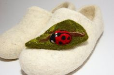Ladybird needle felted  brooch by WoolenClogs on Etsy, $9.00
