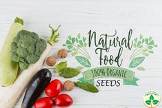 Natural Food 100% Organic Seeds  ONLY FOR ORGANIC Organic flower, fruit, herbs and vegetable seeds Seeds Online, Organic Seeds, The 100, Herbs, Fruit, Vegetables, Flat Lay, Composition, Design Ideas