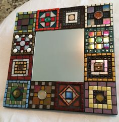 Patchwork Mosaic Mirror by ringmosaics on Etsy Mirror Mosaic, Mosaic Diy, Glass Mosaic Tiles, Mosaic Wall, Tile Crafts, Mosaic Crafts, Mosaic Projects, Mosaic Pictures, Art Of Glass