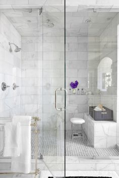 another example of tiled ceiling - might give her that hotel bathroom feel?