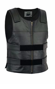 Milwaukee Leather Mens Zipper Front Replica Bullet Proof Style Leather Vest Black, Size 54