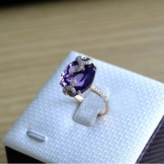 Engagement Ring - Amethyst Ring With Diamonds In 14K Rose Gold. $699.00, via Etsy.