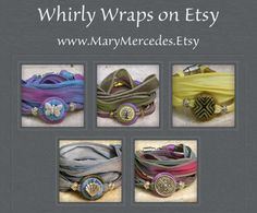 Find these and more at: www.MaryMercedes.Etsy.com Silk and Leather wrap bracelets